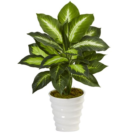 Nearly Natural Dieffenbachia Artificial Plant in Swirl Planter