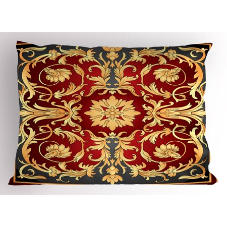Turkish Filigree - Turkish Pattern Pillow Sham Ottoman Spiral Foliage Pattern Frame Filigree Style Royal and Retro, Decorative Standard Size Printed Pillowcase, 26 X 20 Inches, Ruby Mustard Black, by Ambesonne