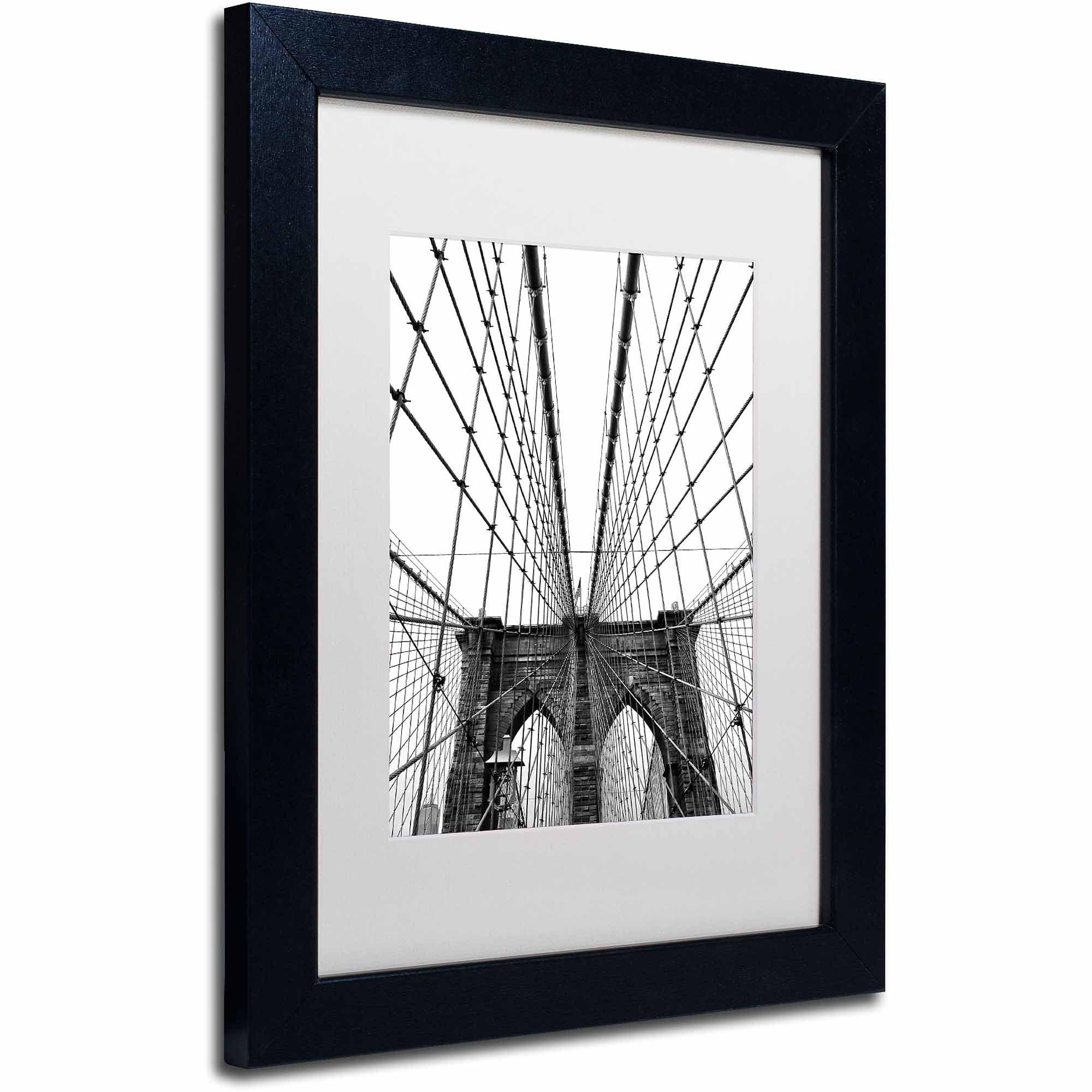 "Trademark Fine Art ""Brooklyn Bridge 3"" Canvas Art by CATeyes, White Matte, Black Frame"