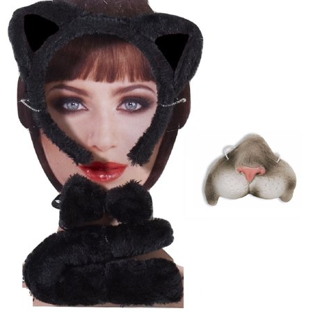 Halloween Cat Mask And Ears (Black Gray Cat Kit Mini Nose Mask Ears Headband Tail Kitty Animal Costume)