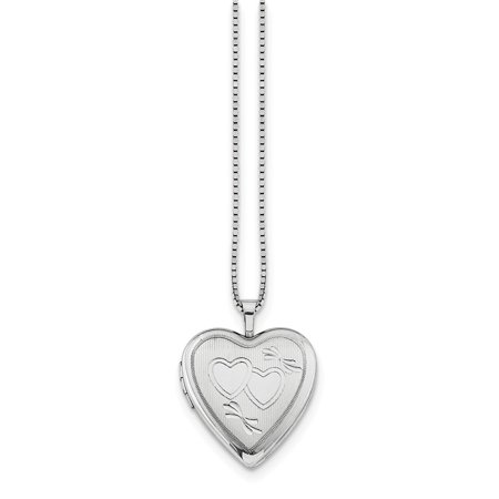 Solid 925 Sterling Silver 20mm Double Hearts Heart Locket Pendant (Length:25mm|Width:20mm)