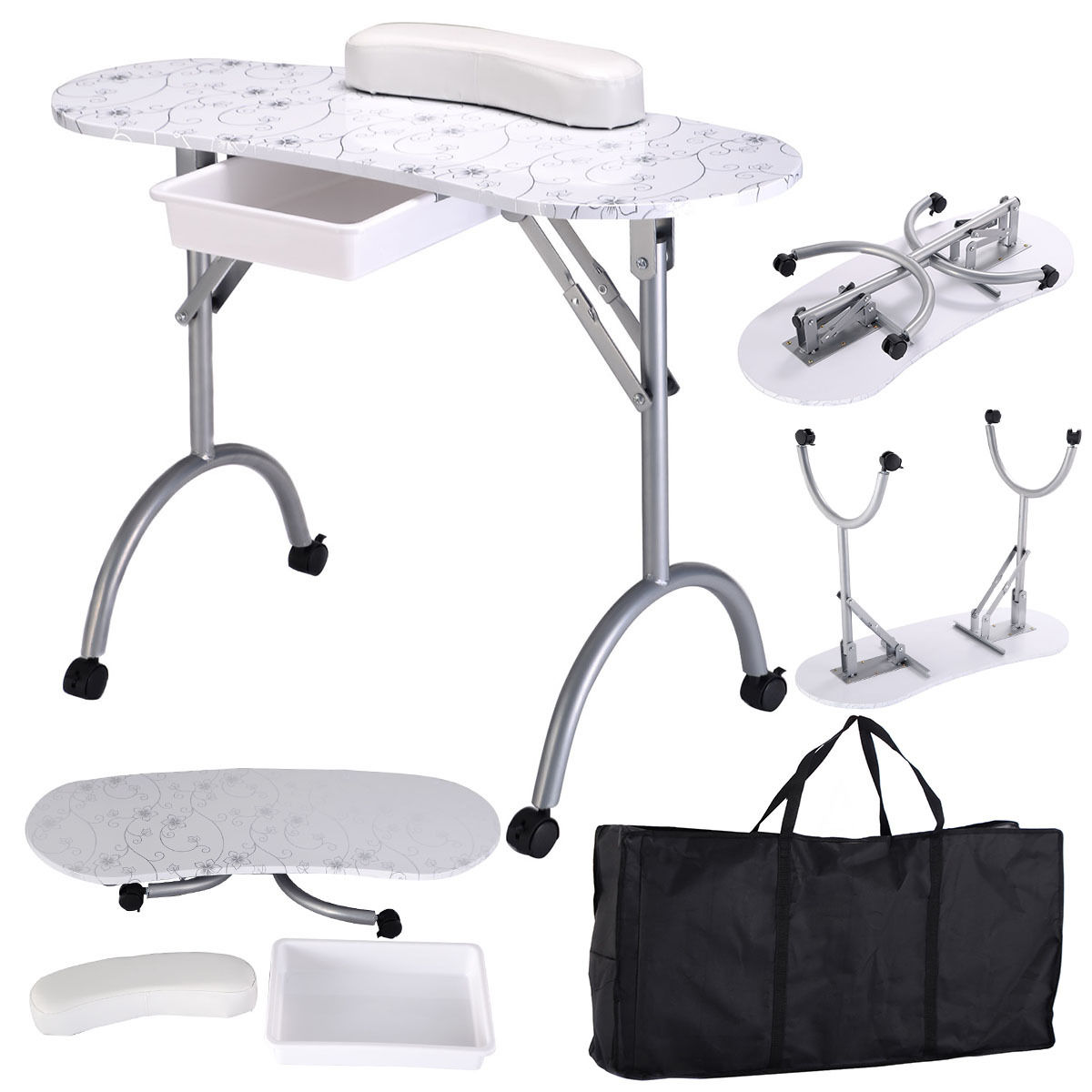 Costway White Manicure Nail Table Portable Station Desk Spa Beauty Salon Equipment