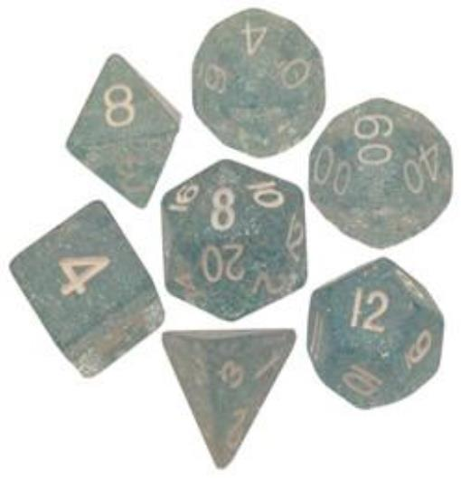 Polyhedral 7 Die Set Resin Dice: Ethereal Light Blue with White Numbers