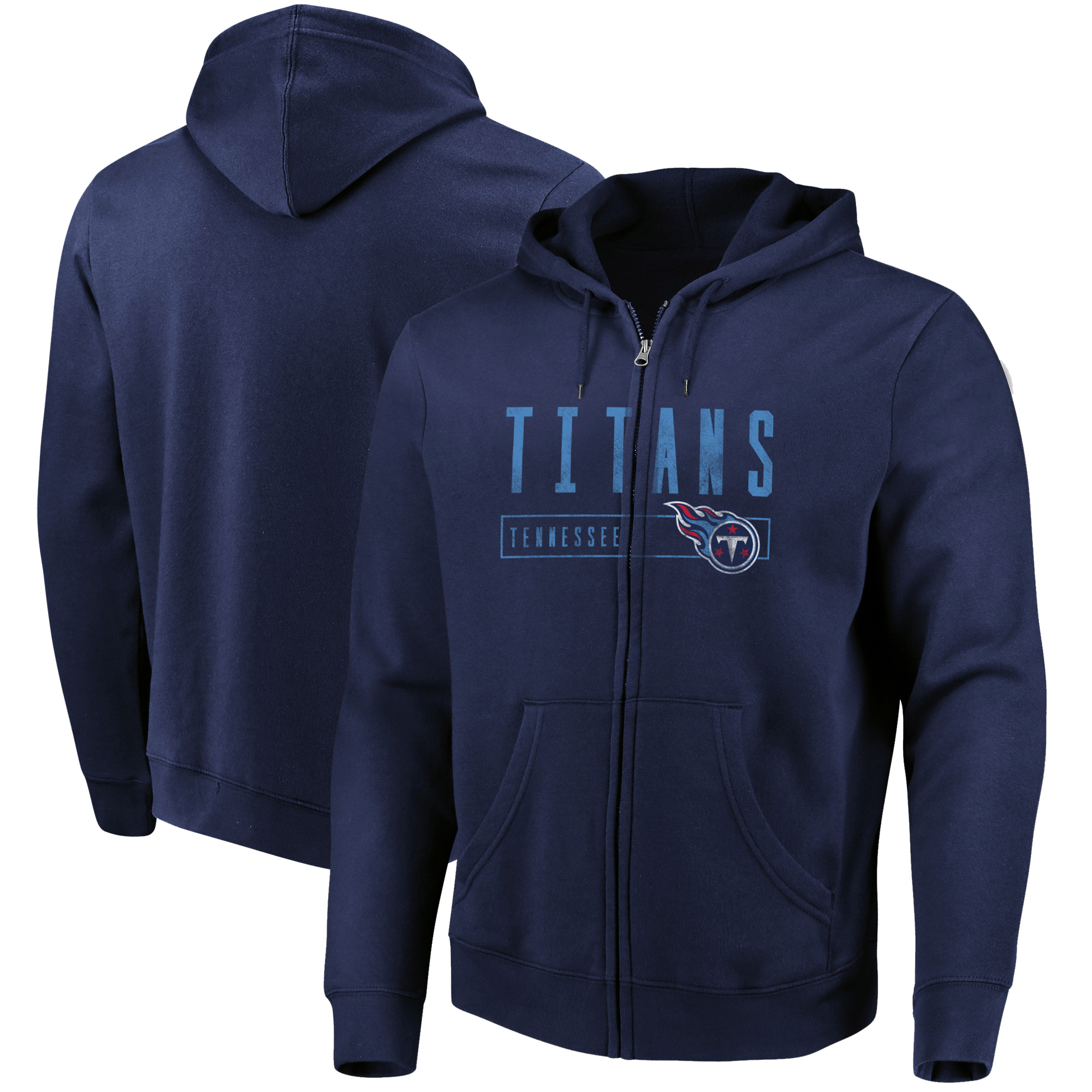 Tennessee Titans Majestic Hyper Stack Full-Zip Hoodie - Navy