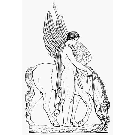 Bellerophon And Pegasus Nline Drawing After An Antique Italian Engraving Poster Print By Granger Collection