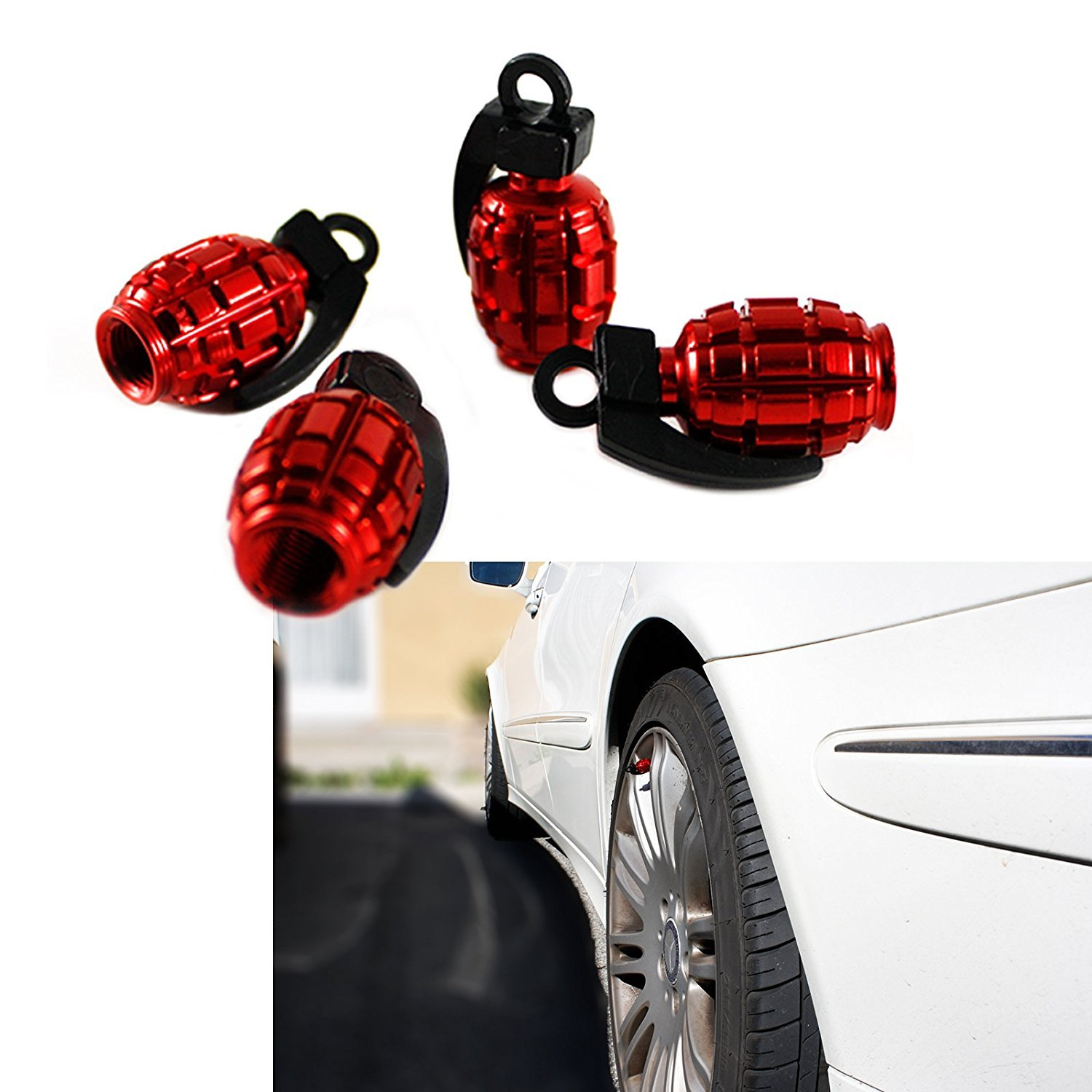 Aluminum Grenade Bomb Style Y-SPACE 5 Pieces Car Truck Motorcycle Wheel Tyre Valve Caps Bicycle Tire Air Valve Cover Red Silver