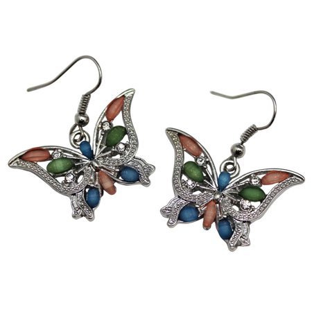 Colored Crystal Bead Butterfly Earrings With Rhinestone Inlays