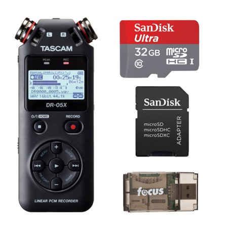 Tascam DR-05X Recorder and USB Interface with 32GB MicroSD Card and USB Reader
