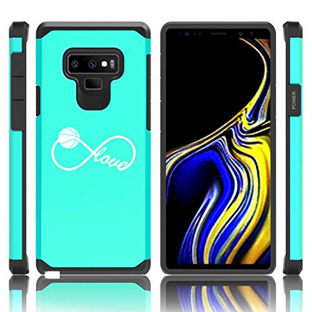 Shockproof Impact Hard Soft Case Cover for Samsung Galaxy (Note 9) Infinite Infinity Love for Basketball (Teal)