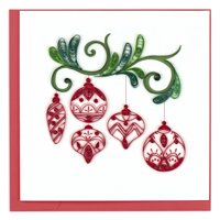 "6"" Red and White Ornaments Square Christmas Greeting Card"