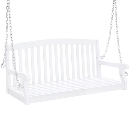 Best Choice Products 48-inch 3-Seater Wooden Curved Back Hanging Porch Swing Bench Conversation Furniture w/ Metal Chains for Backyard, Front Yard, Patio, Deck, Garden, White ()