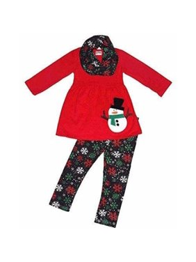 Christmas Kids Snowman Baby Girls Outfits Clothes Tops Dress+Pants Leggings Set