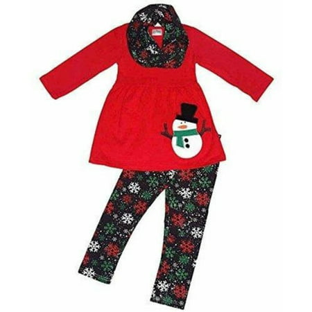 Christmas Kids Snowman Baby Girls Outfits Clothes Tops Dress+Pants Leggings - Snowman Outfit