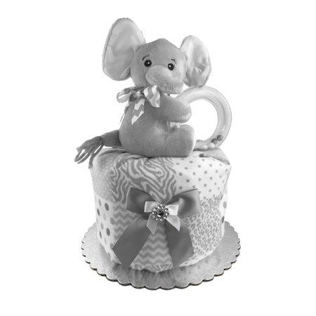 Trim Diaper Cake (Baby Shower Gift - Diaper Cake for a Boy or Girl - Elephant)