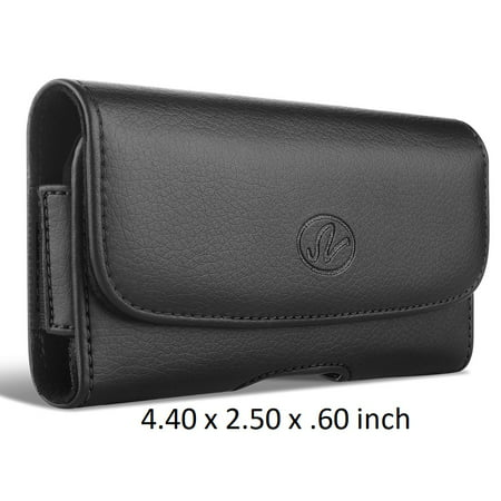 Horizontal Premium Leather Pouch Case Holster For Pantech Breeze IV Devices - Belt Clip And Loops - (4.40x2.50x0.60 (Iv Leather)