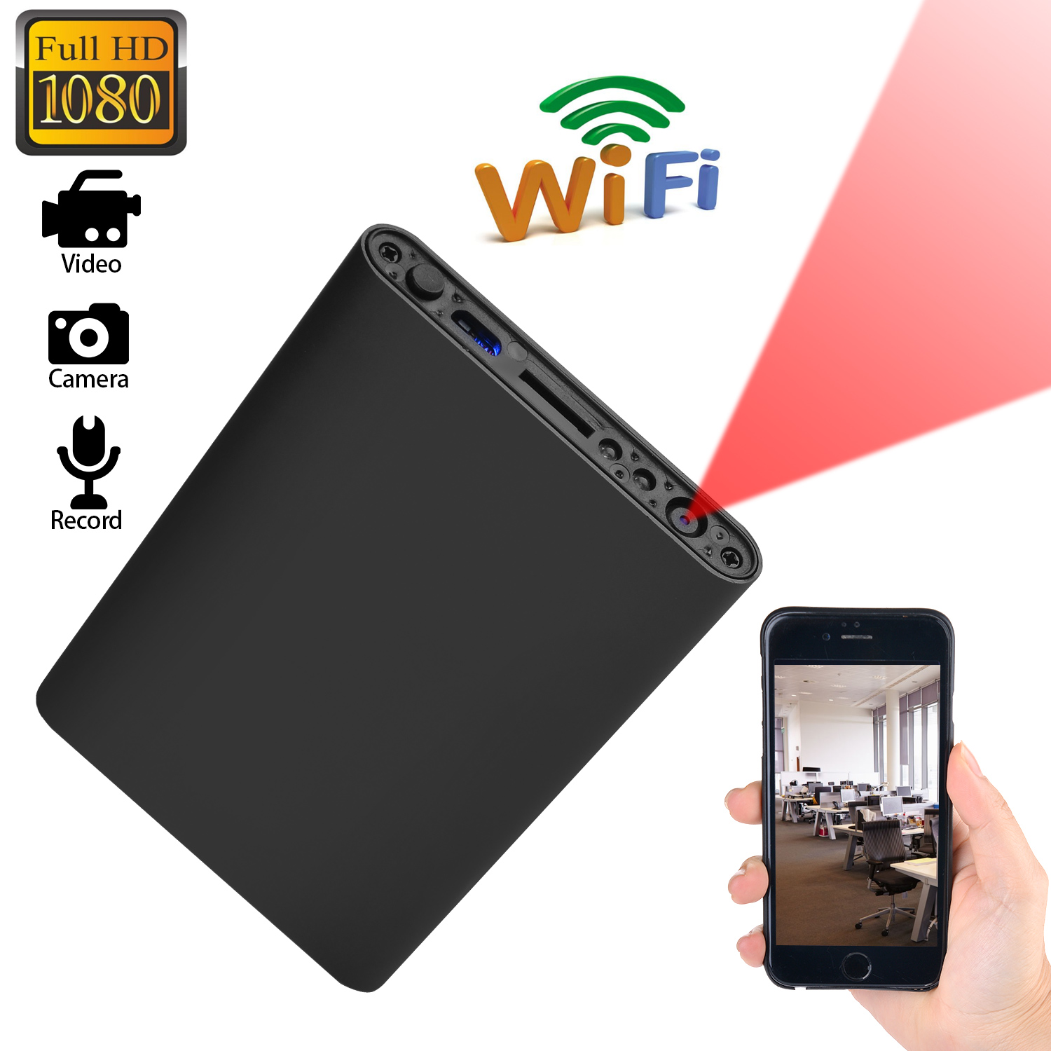 Mini WIFI 1080P HD Spy Hidden IP Camera Power Bank Wireless Video Recorder Camera