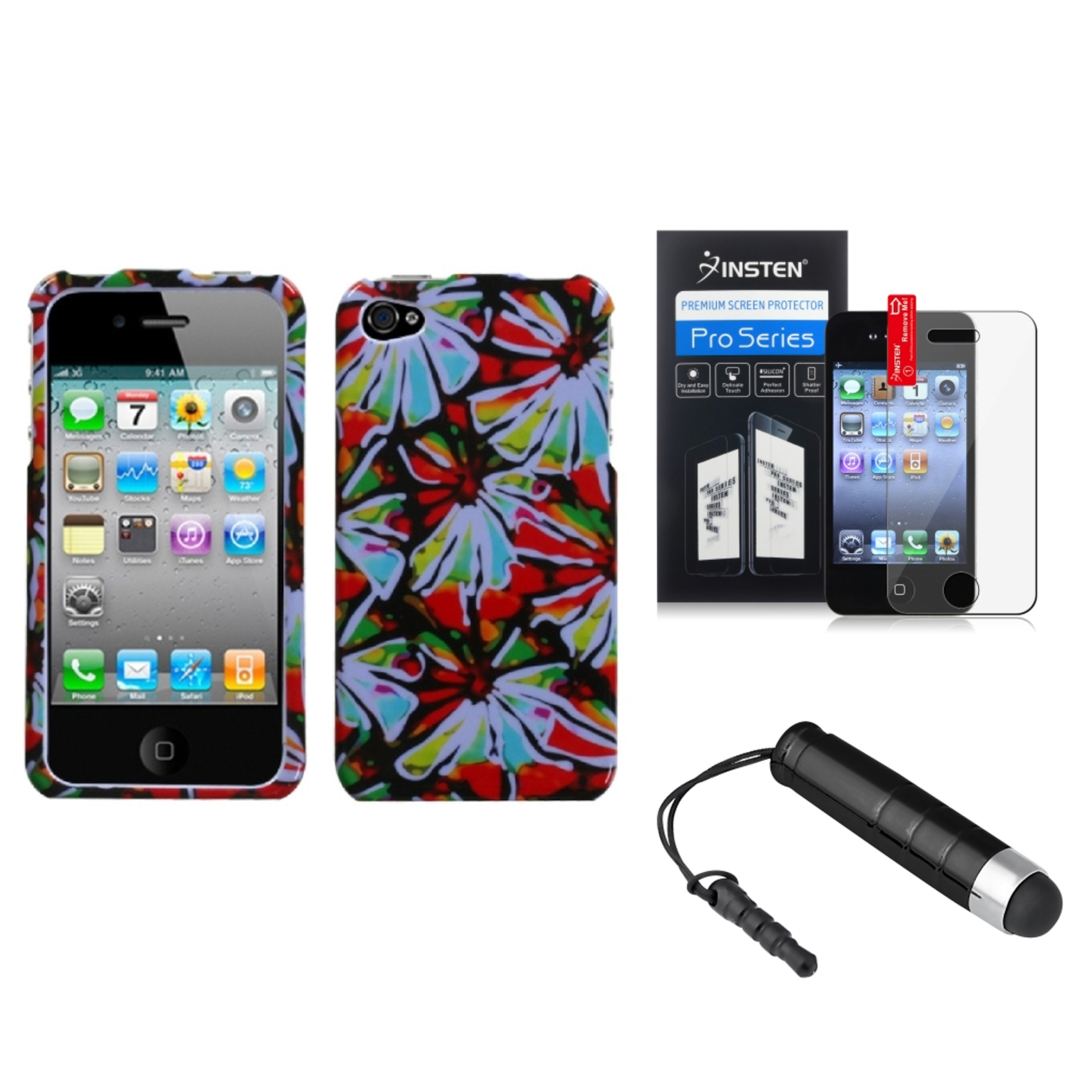 Insten Flower Power Phone Case LCD Screen Protector Pen For APPLE iPhone 4S/4