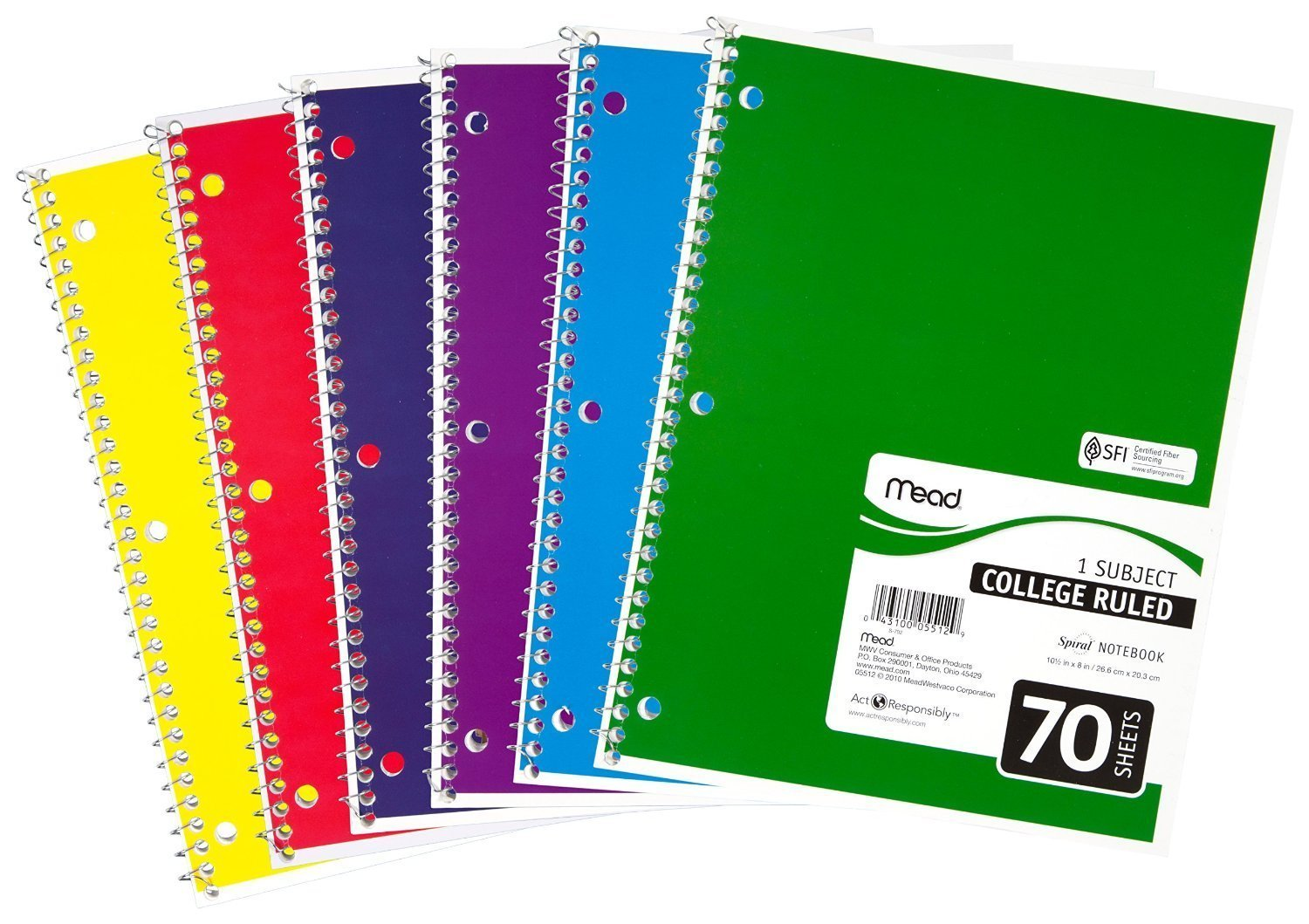 05512 spiral notebook college ruled 7 5 x 10 5 70 sheets 1