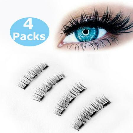 Glamorous Magnetic False Eyelashes, 4pcs 0.2mm magnetic eyelashes set Ultra Thin Fake Mink Eyelashes for women (New Triple magnets) - Feather Fake Eyelashes