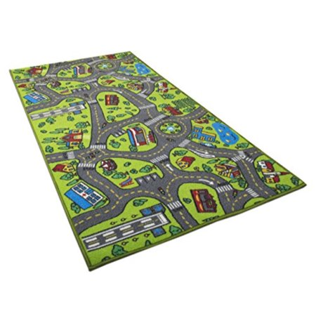 Kids Carpet Playmat Rug City Life Great For Playing With Cars and Toys - Play, Learn and Have Fun Safely - Kids Biy, Children Educational Road Traffic Play Mat, For Bedroom Play Room Game Safe Area ()