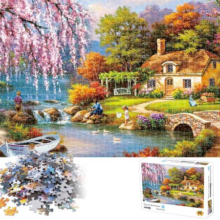 Jigsaw Puzzle 1000 Piece Mini,Rural Life Landscape Painting Jigsaw Puzzle for Adults Teens- Difficult and Challenge, Pieces Fit Together Perfectly Funny Indoor Activity, Magical Deer