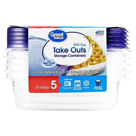 (2 pack) Great Value Take Outs Storage Containers with Lids, BPA Free, 25 fl oz, 5 Count (Microwaveable Containers Bpa Free)