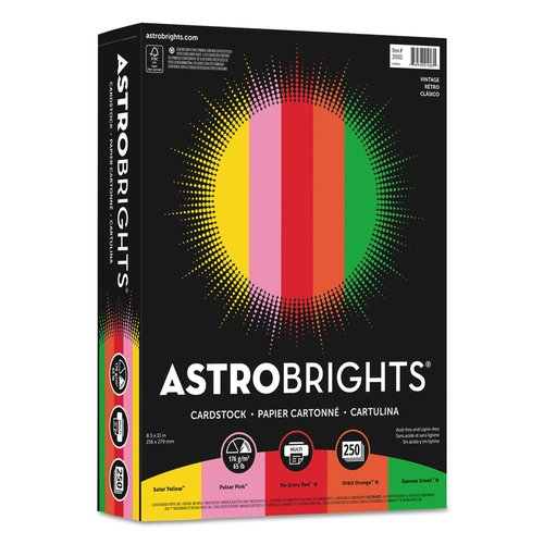 Wausau Paper Astrobrights Cover Stock, 65lb, Color Assortment One, Letter, 250 Sheets