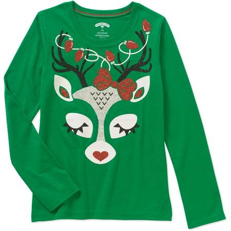 632b24fe04f9 Christmas - Girls' Long Sleeve Graphic Tee Shopping Oh Deer - Walmart.com