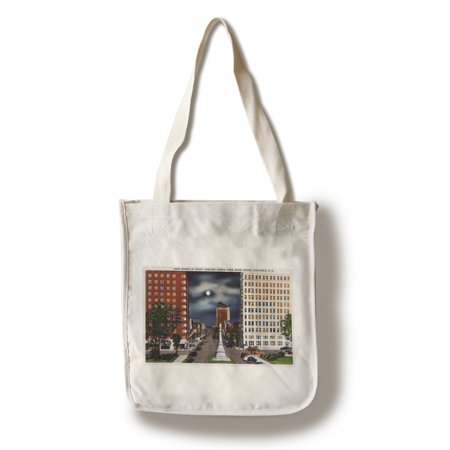Columbia, South Carolina - Night View of Main Street from State House (100% Cotton Tote Bag - (Spring Valley High School Columbia South Carolina)