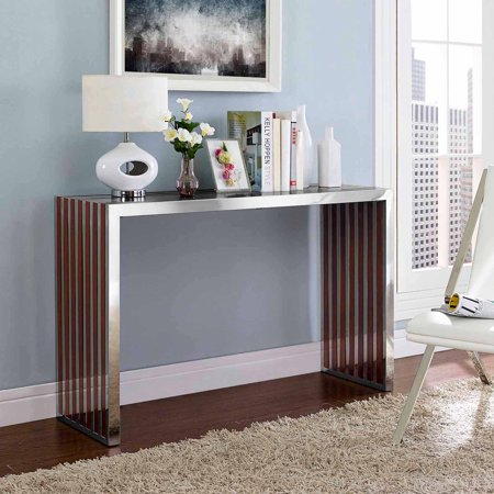 Suburban Bench Console - Modway Gridiron Wood Inlay Console Table or Bench in Walnut