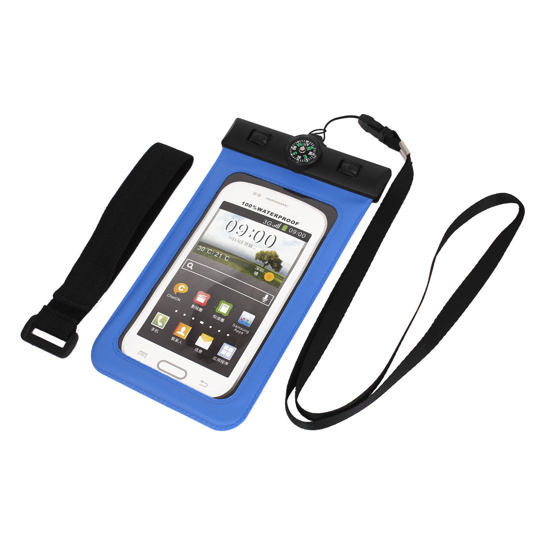 "Waterproof Bag Holder Pouch Deep Blue for 4.5"" Mobile Phone w Neck Strap Compass"