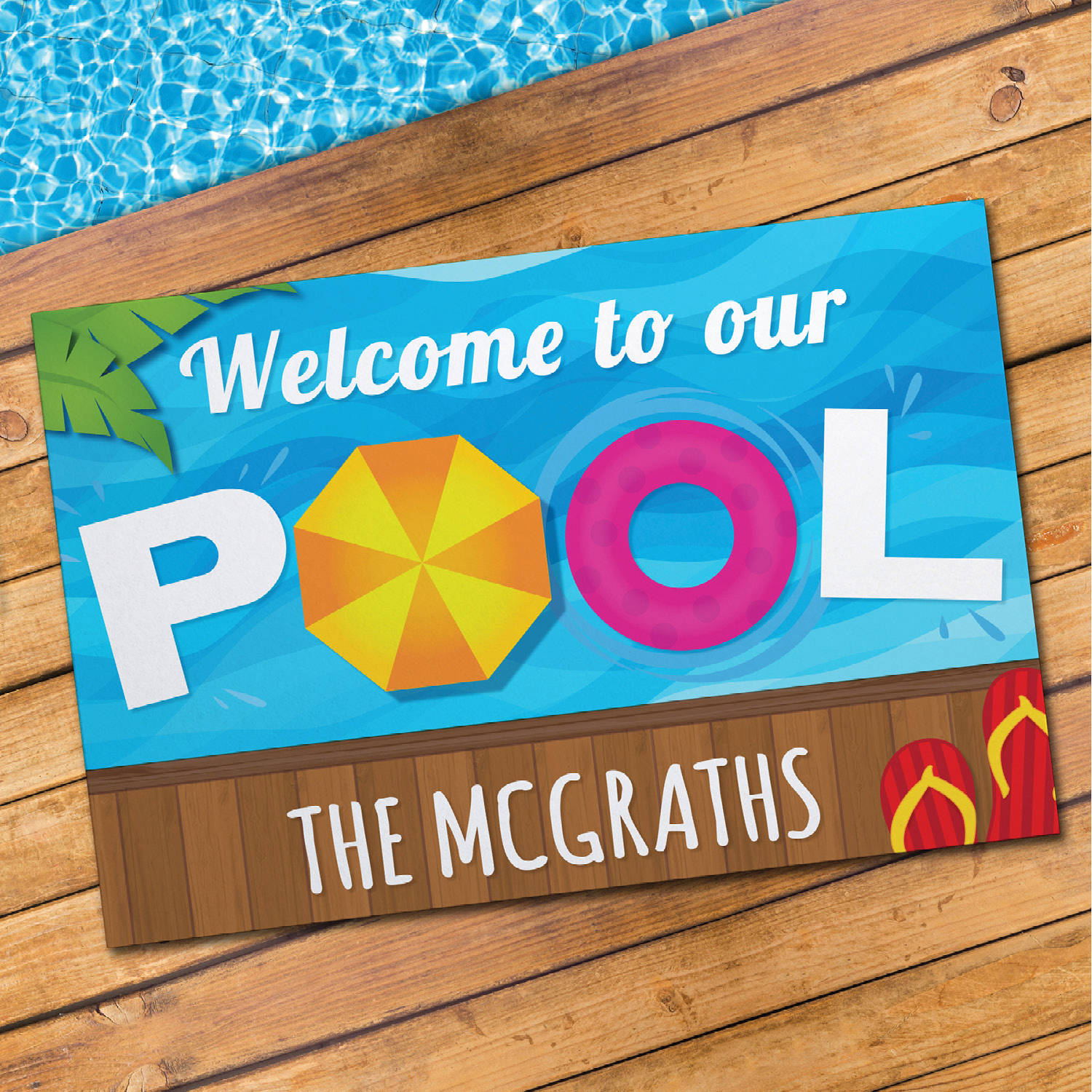 Personalized Welcome To Our Pool Doormat