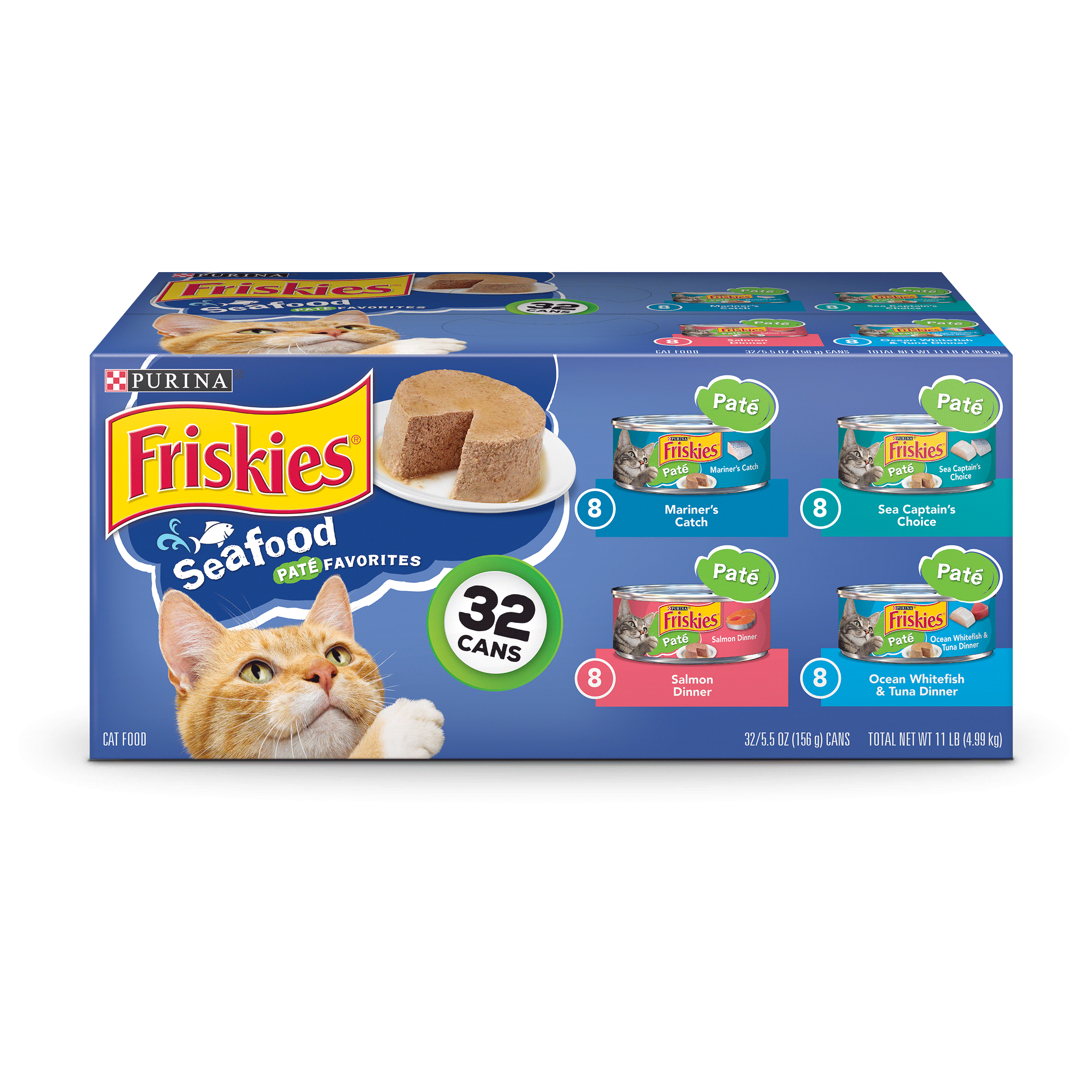 Friskies Pate Wet Cat Food Variety Pack; Seafood Pate Favorites (32) 5.5 oz. Cans by Nestle Purina Petcare Company