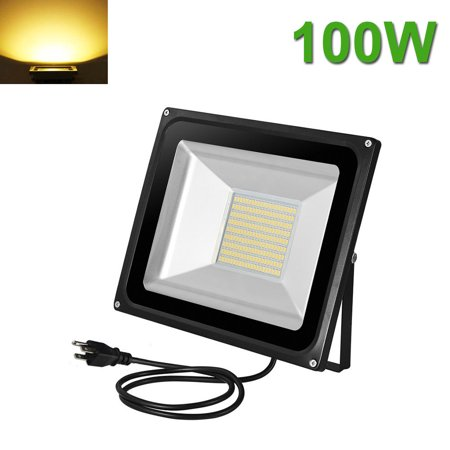 100W LED Flood Light Outdoor Garden Landscape Wall Lamp US Plug Warm White