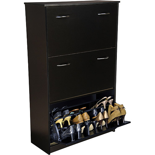 Shoe Cabinet, Triple, Black