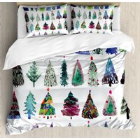 Christmas King Size Duvet Cover Set, Big Collection of Watercolor Christmas Fir Trees Artistic Abstract Silhouettes, Decorative 3 Piece Bedding Set with 2 Pillow Shams, Multicolor, by Ambesonne