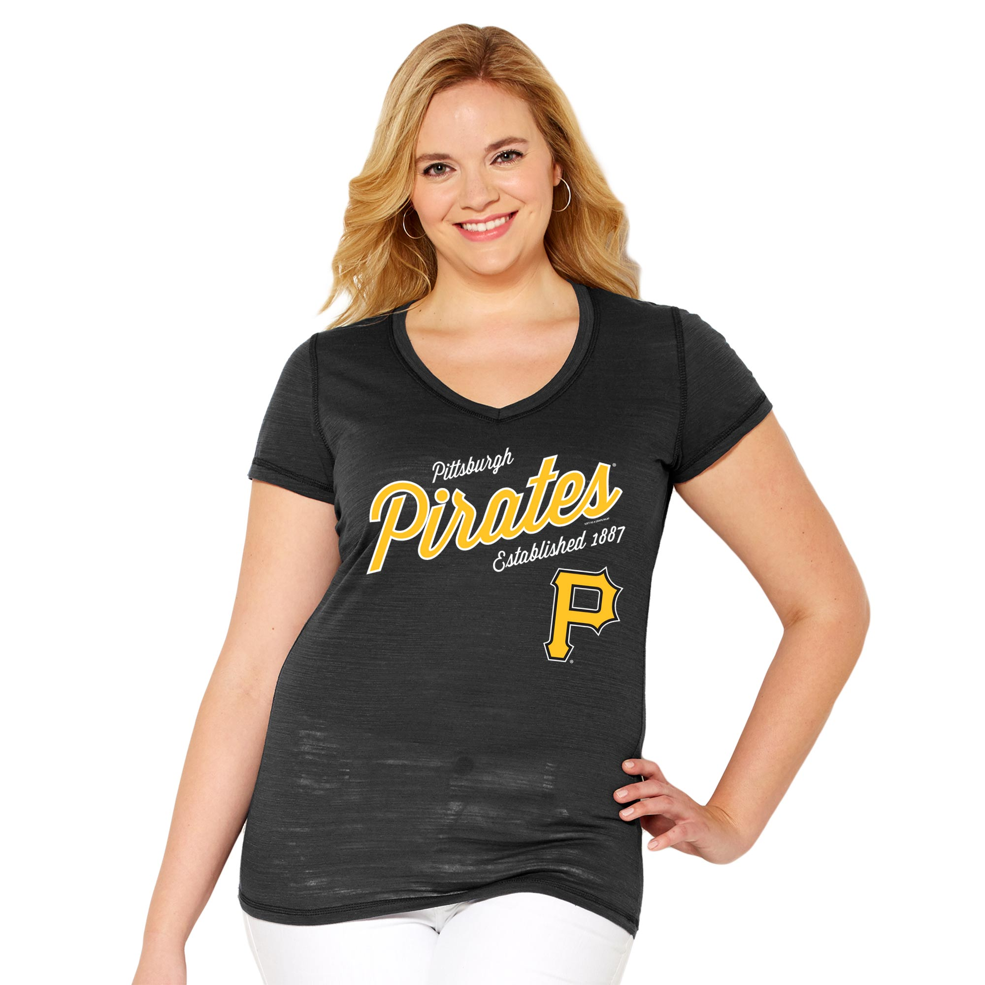 Pittsburgh Pirates Soft As A Grape Women's Plus Size Fastball V-Neck T-Shirt - Black