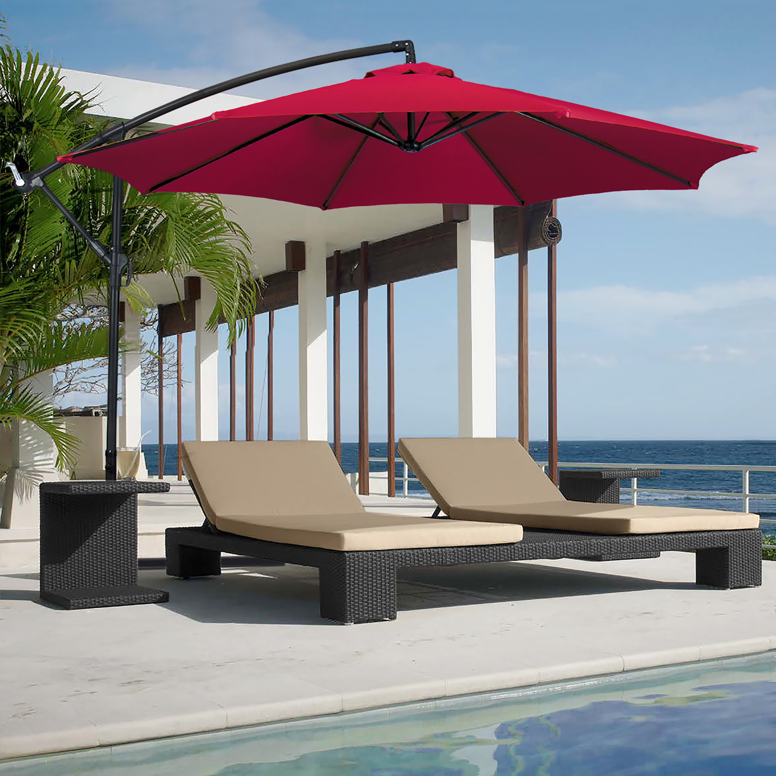 Patio Umbrella Offset 10' Hanging Umbrella Outdoor Market Umbrella New Burgundy by