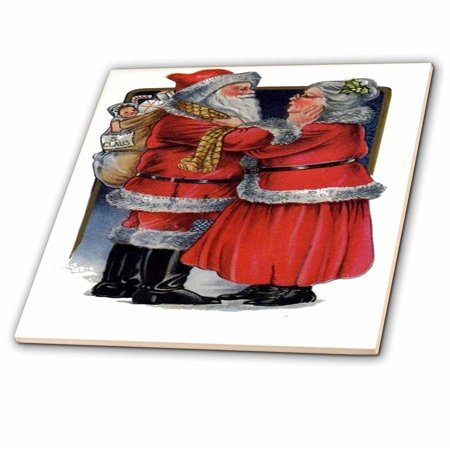 3dRose Mr and Mrs Claus- vintage, vintage christmas, cute, nostalgic, father christmas, santa claus - Ceramic Tile, 4-inch (Mr And Mrs Santa Clause)