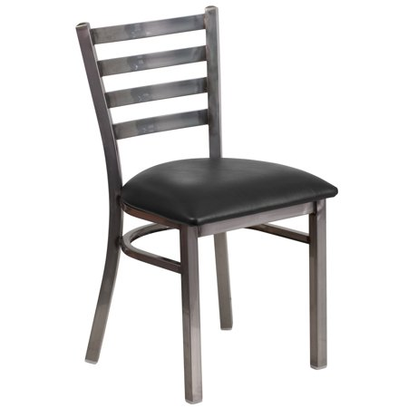 Flash Furniture HERCULES Series Clear Coated Ladder Back Metal Restaurant Chair - Vinyl Seat Multiple Colors