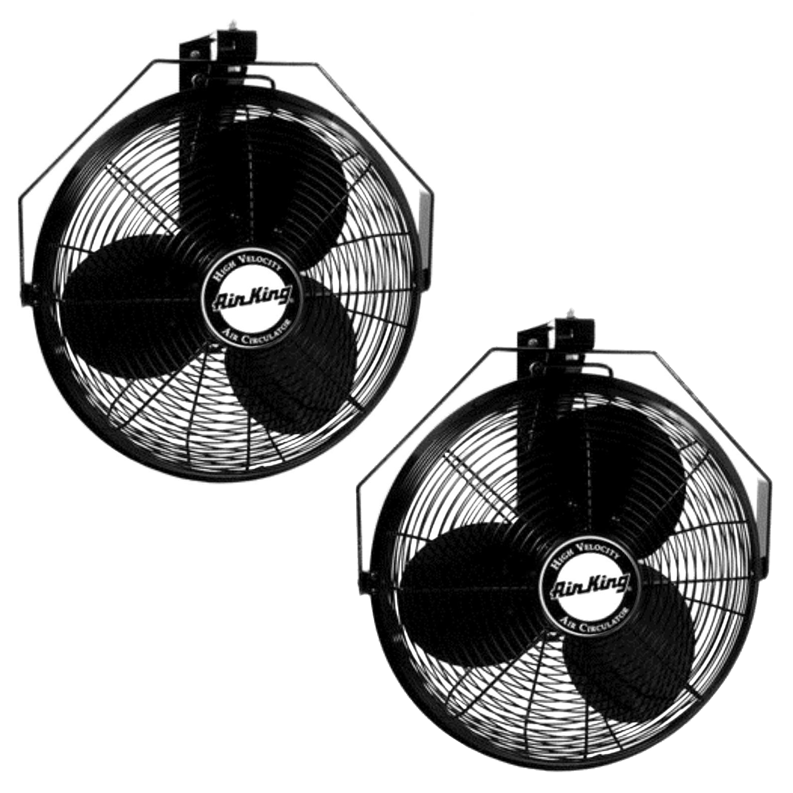 Air King 18 Inch 1/6 HP Industrial Grade 3 Blade Wall Mounted Fan (2 Pack)