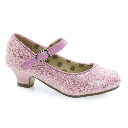 Quincy by Styluxe, Children's Girl Rock Glitter Mary Jane Low Heel Dress - Mary Jane Pumps With Chunky Heel