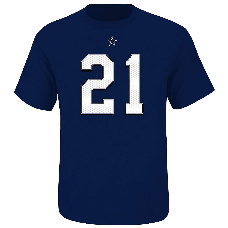 Ezekiel Elliott Dallas Cowboys #21 Men's Big and Tall Player T-Shirt Navy (3XL)