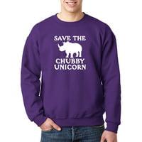 Trendy USA 1221 - Crewneck Save The Chubby Unicorn Rhino Funny Humor Sweatshirt Small Gold