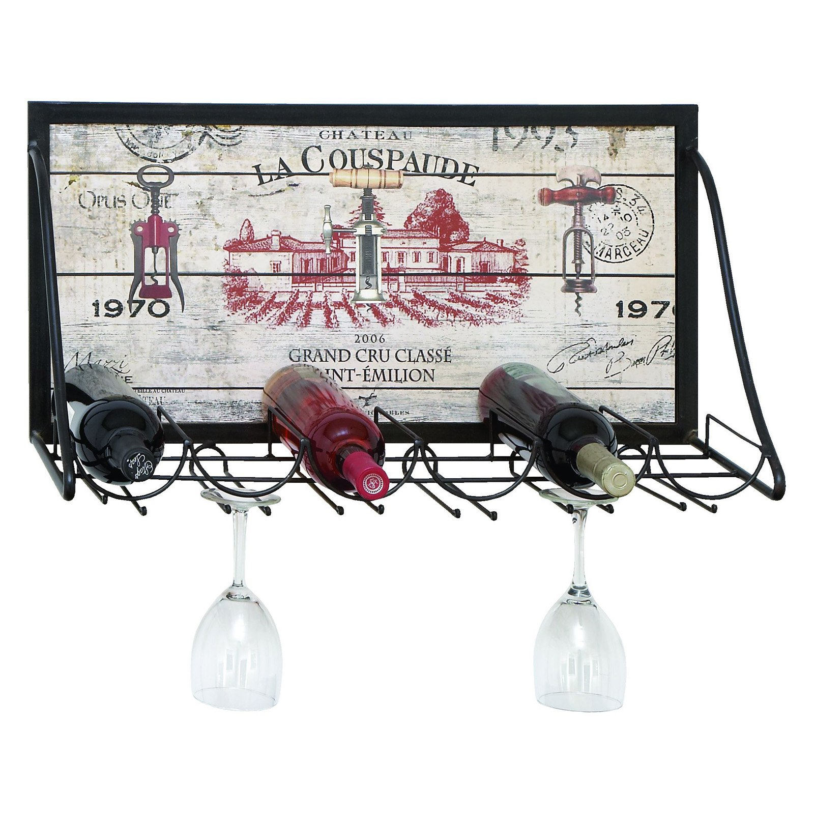 Woodland Imports Savona Vintage Vineyard 6 Bottle Wine and Stemware Rack