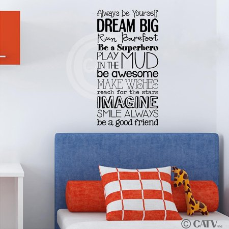 Boy version Kid Rules vinyl lettering wall saying decal quote sticker nursery child (12