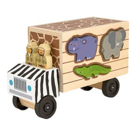 Wooden Toy Truck - Melissa & Doug Animal Rescue Shape-Sorting Truck - Wooden Toy With 7 Animals and 2 Play Figures