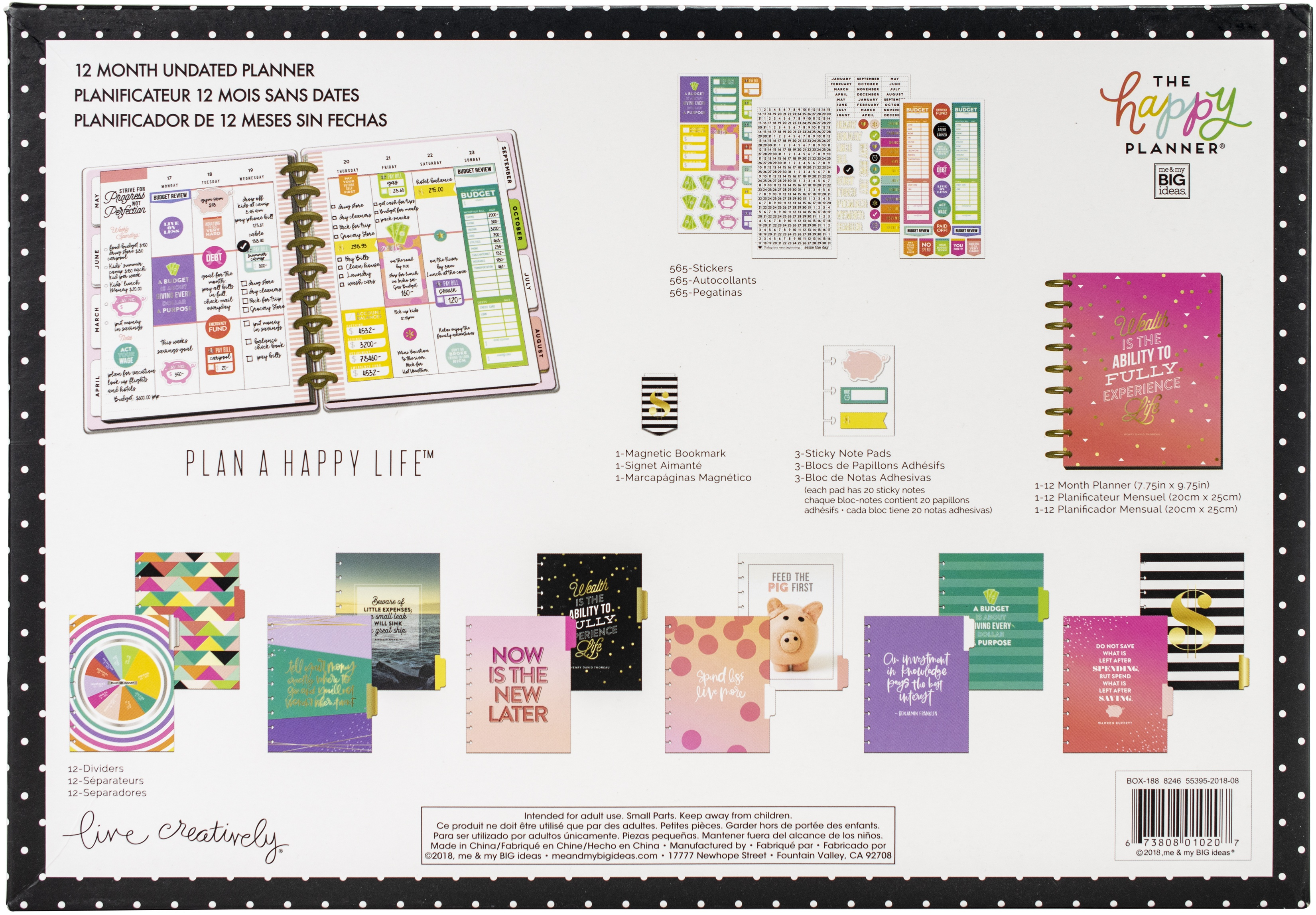 Happy Planner 12-Month Undated Medium Planner Box Kit-Budget Wealth