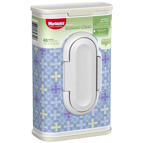 Huggies Natural Care Baby Wipes, Designer Tub, 40 Wipes, Unscented, Hypoallergenic, Aloe and Vitamin E