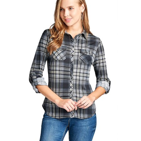 Made by Olivia Women's Checkered Plaid Roll Up Sleeve Stretch Knit Button Down Shirt Black - Knit Button Shirt